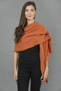 Knitted Pure Cashmere Wrap in Burnt Sienna 2