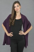 Knitted Pure Cashmere Wrap in Purple 3
