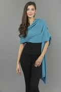 Knitted Pure Cashmere Wrap in Sea Blue 1