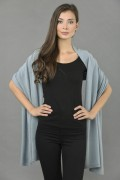 Knitted Pure Cashmere Wrap in Cambridge Blue 2