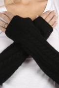 Black pure cashmere cable knit wrist warmers gloves 3