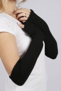 Black pure cashmere fingerless long wrist warmer gloves 2