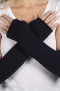 Navy Blue pure cashmere fingerless long wrist warmer gloves 3