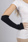 Navy Blue pure cashmere fingerless long wrist warmer gloves 1