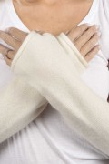Cream White pure cashmere fingerless long wrist warmer gloves 3