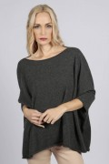Charcoal Grey pure cashmere short sleeve oversized batwing sweater front