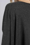 Charcoal Grey pure cashmere short sleeve oversized batwing sweater close-up