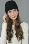 Pure Cashmere Plain and Ribbed Knitted Beanie Hat in Black 3