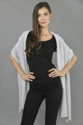 Knitted Pure Cashmere Wrap in Ice blue front 2