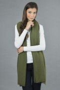 Knitted Pure Cashmere Wrap in Loden Green 4