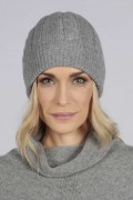 Light grey cashmere beanie hat cable and rib knit front