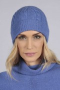 Periwikle blue cashmere beanie hat cable and rib knit front