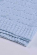 Light Blue pure cashmere baby blanket cable knit close up 1