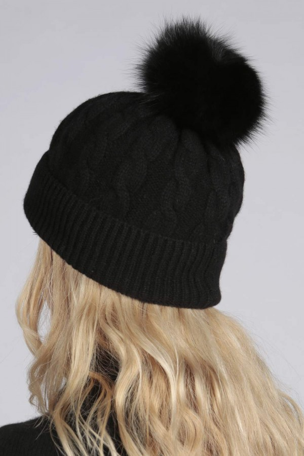 807110daf1604 Black pure cashmere fur pom pom cable knit beanie hat back ...