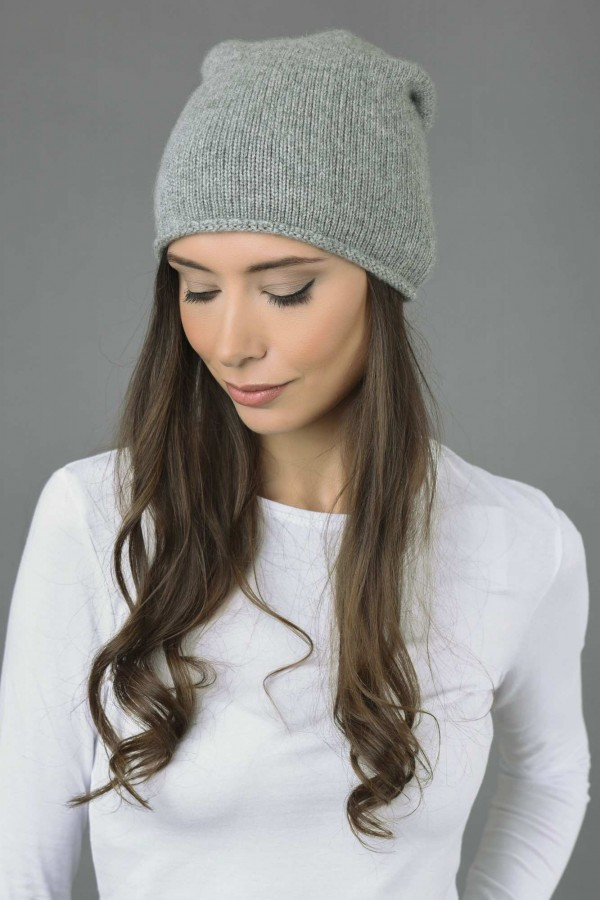 ... Pure Cashmere Plain Knitted Slouch Beanie Hat in Light Grey 3 ... c463688621f